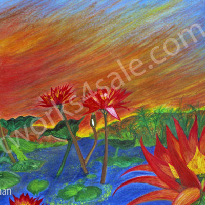 Sunset-At-The-Lotus-Pond-Giclee-Art-Prints